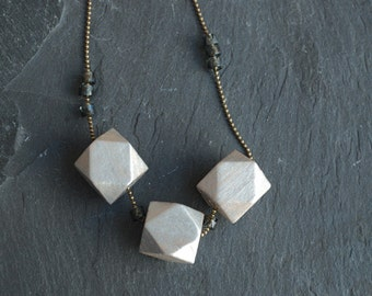 "Geometric  """"  Grey and silver // Minimal style jewelry // wood bead necklace"