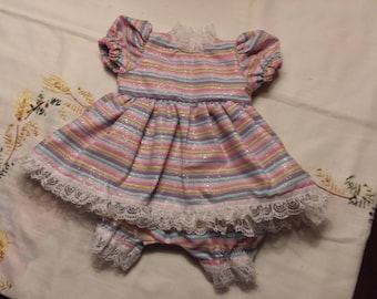 Sparkly dress and bloomers for Bitty Baby sized dolls