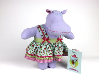 Dress up soft doll - Hippopotamus plush doll - Lilac hippo stuffed animal - Modern cuddly toy - Gift for kids -Mindy the Mippo -Passport toy