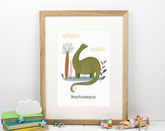 Dinosaur Print - Long Neck Dinosaur - Gift For Boy - Kids Bedroom Art - Gift For Girl - New Baby Gift - Dino Print - Dinosaur Poster