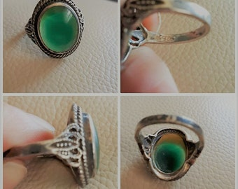 Vintage Silver Nephrite Ring