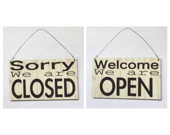 Open Closed Business Office Sign Modern Shabby Chic Vintage Tin & Plastic