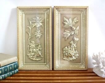 Gold Framed Wall Art, Hollywood Regency, Mythological Images