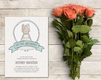 Bridal Shower Invitation, Getting Meowied! Invitation, Cat Bridal Shower, Kitty Cat Bridal Shower, Cat Invitation, Kitty, Printable No. 1007