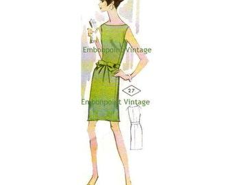 Plus Size (or any size) Vintage 1969 Women's Dress Pattern - PDF - Pattern No 27 Jody