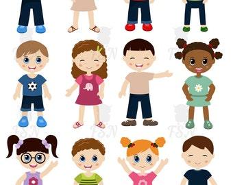 Set of different  kids. Digital Clipart. Different  kids Digital Vector Clip art. Childhood Clip Art, Digital Art.