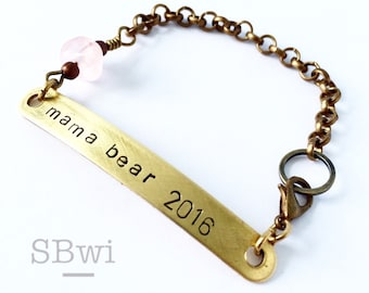 Mama bear bracelet in bronze with rose quartz stone accent