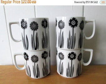 MEMORIAL DAY SALE 4 vintage black and white flower mugs
