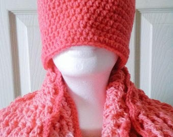 Coral Dreams Crochet Infinity Scarf and Hat Set