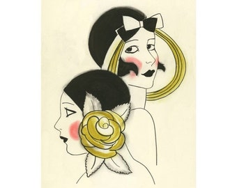 Art Deco print - art print - Paula and Jemma  - 4 X 6 print - 4 for 3 SALE