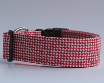 Red Houndstooth Dog Collar