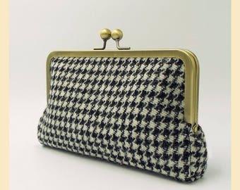 Harris Tweed bag, black and white tweed purse, houndstooth tweed clutch bag, silk lining, handbag with optional personalisation