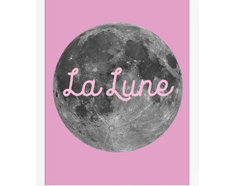 Moon Art Print for Kids, Pink Nursery Art Print, Girls Room Art Prints, French Art Prints, Girls Room Decor, Girls Nursery, Pink Moon Art