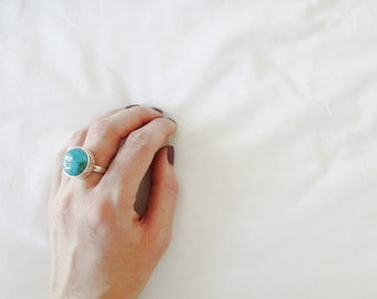 turquoise ring turquoise jewelry ring gemstone ring cabachon ring turquoise cabachon ring