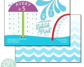 Splash Park Invitation |  Splash Pad Invitation | Splash Zone Invitation | Spray Park Invitation - 5x7 with reverse side