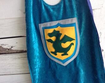 Dragon Cape TEAL and NAVY - Super Cape - Birthday Cape - Super Hero Cape - Halloween Costume - Kid Costume