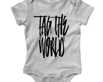 Baby One Piece - Tag The World Infant Romper - NB 6m 12m 18m 24m - Graffiti Artist Baby, Street Art Baby, Tagging Baby, Hip-Hop Baby
