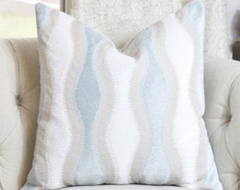 Blue Geometric Pillow Cover - Light Blue, White and Beige Cut Velvet Throw Pillow - Motif Pillow - Geometric Pillow Cover -Motif Pillows