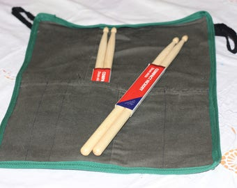 Drumstick/knitting needle roll, Up-cycled