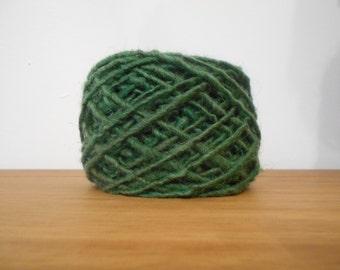 Pure Chunky Wool.Hand-Dyed Racing Green. 80g