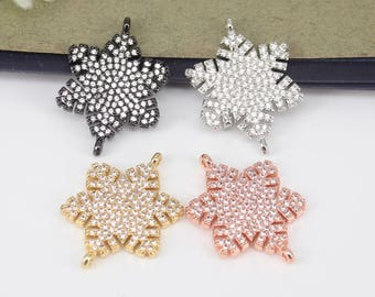 10pcs Metal Copper Micro Pave CZ Snowflake connector Beads, Cubic Zirconia For Jewelry Making