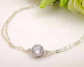 Minimalist Dainty Wedding Bracelet for Bride to Be // Double Sterling Silver Chain // Simple Bridesmaid Bracelet
