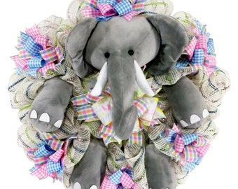 Baby Elephant - Baby Wreath - Nursery Decor - Baby Shower Decor - Baby Deco Mesh - Baby Shower Gift - Gender Neutral