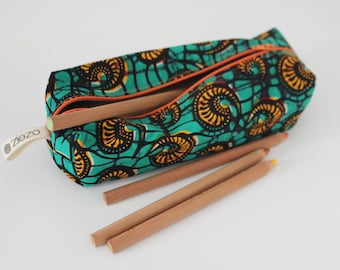 Pencil bag, Zippered Pencil Pouch, African Wax Print Pencil Bag, Pen Bag