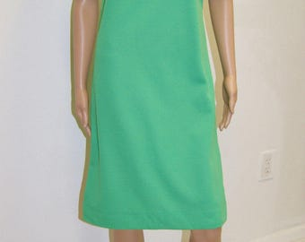 Vintage 60's 70's Mod Mid Century Green Shift Dress by Cay Artley Size 6 to 8