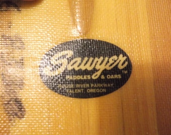 """Paddle Vintage 40"""" T-Handle Wood and Fiberglass Sawyer Paddle Oar Made in Oregon Flat bottom will stand up against wall"""