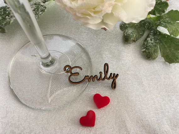 Personalised Wine Glass Charm Custom Name Gift Tags Wedding Sign Place Cards Wooden Place Name Setting Small Laser Cut Table Names with Hole