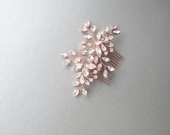Rose gold Swarovski crystal bridal hair vine, Bridal hair comb, Wedding hair comb, Rhinestone comb, Wedding hair vine