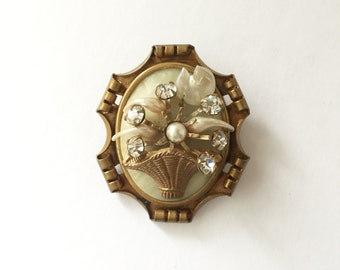 Vintage 1940s Flower Basket Brooch, Copper Celluloid Mother of Pearl and Crystal Accents