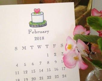 SALE! 15% off, Little Desktop Calendar 2018, Desk Calendar 2018, 2018 Desk Top Calendar, Desktop Calendar for 2018,  Small Calendar 2018
