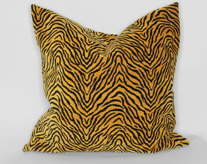 orange and black tiger stripes pillow cover - tiger print - COVER ONLY