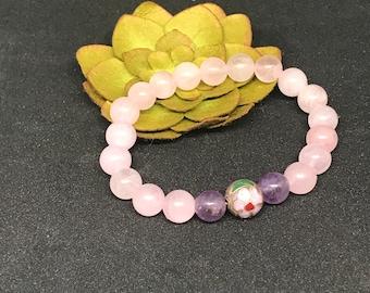 Cloisonne Rose Quartz & Amethyst Bracelet