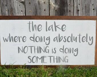 Farmhouse Distressed LAKE Sign. Home Decor. Lake House Decor.