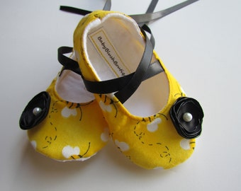Bumble Bee Baby Shoes Soft Ballerina Slippers Baby Booties