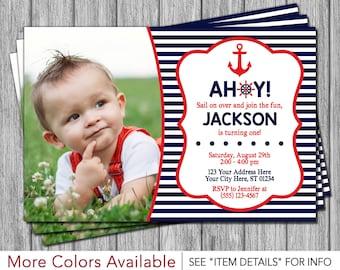 Nautical Birthday Invitation - Navy and Red