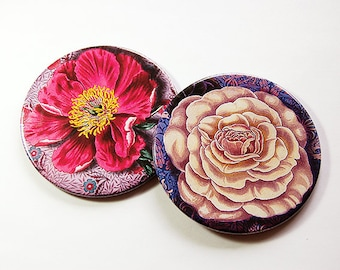 Drink Coasters, Floral Coasters, Barware, Coasters, Set of Coasters, Hostess Gift, Home Decor, Housewarming Gift, Red, Flowers (5106d)