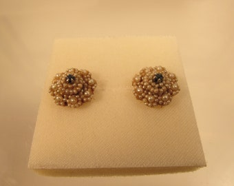 Vintage Sapphire Pearl  Earrings Screw Back 14 K  @ A  Village Coin 4/9/1 B