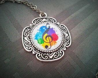 Necklace music Note necklace musical necklace treble clef, music, music cabochon key cabochon pendant, music gift