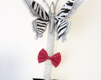 hair bow holder,zebra nursery, zebra room, zebra decor, hair clip holder, hair bow display, hair bow organizer, butterfly hair bow holder
