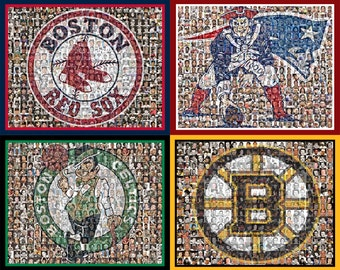 Boston Sports Mosaic Print Art using Player Photos from the Red Sox, Patriots, Bruins & Celtics. Four different Mosaic teams are included.