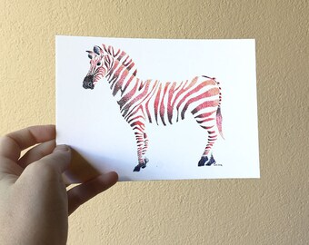 """Postcard - """"little dots and beasts, the Zebra"""""""