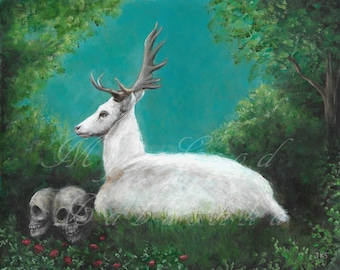 The White Hart Brings an Omen, Original Painting, Deer, Stag, White, Animal, Fairy Tale, Folk Tale, Skull, Strawberries, Memento Mori