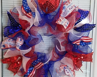4th July Wreath, Patriotic Wreath, Memorial Day Wreath, Labor Day Wreath, Deco Mesh Wreath, Handmade Wreath, Ribbon Wreath