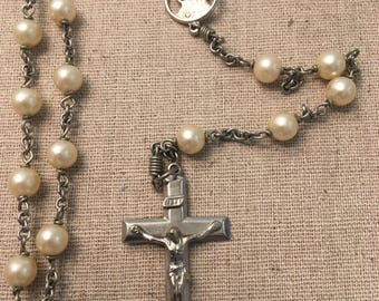 Vintage Pearl Rosary, extra long