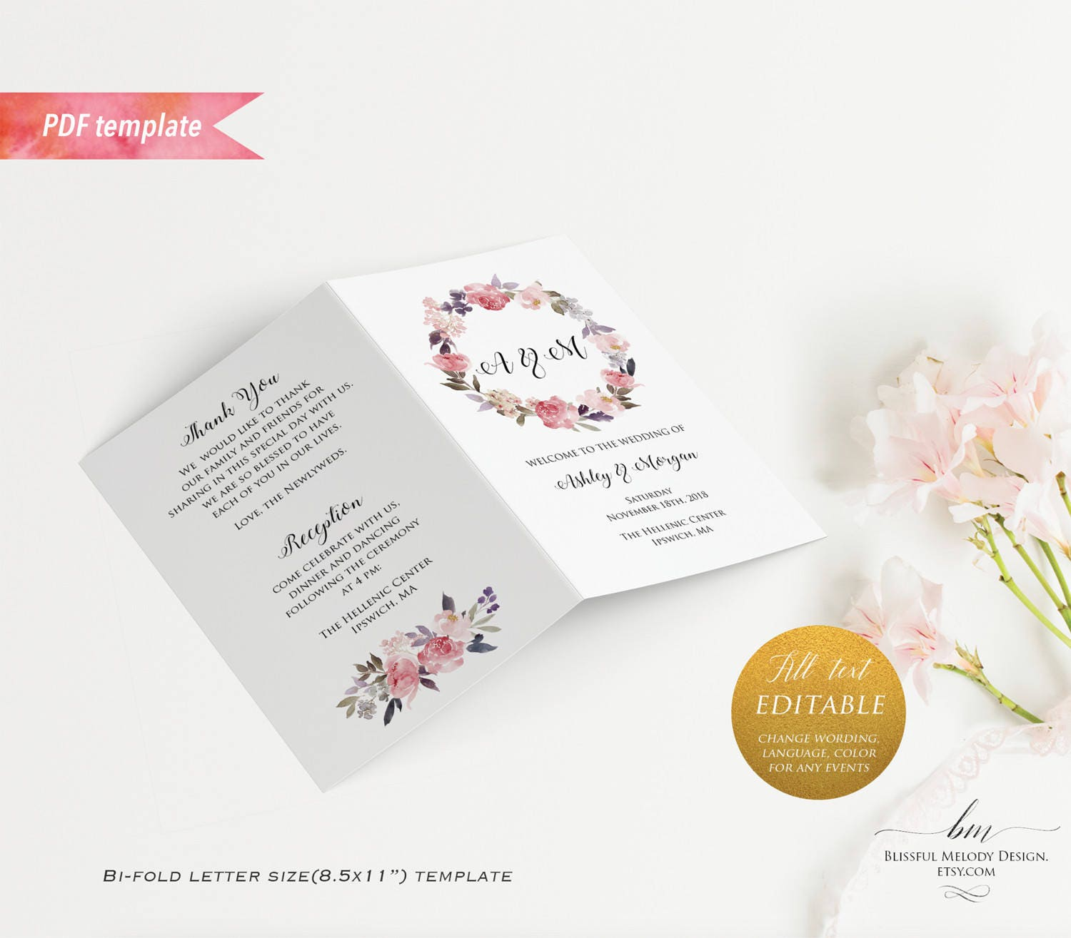 Printable Dusty Pink Floral Wedding Program Booklet Editable