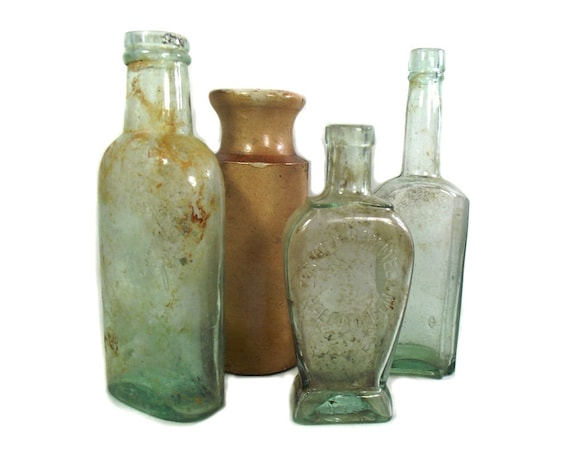 """9"""" Tall Antique Glass & Stoneware Bottle Collection"""